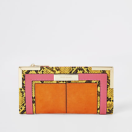 Orange snake print foldout metal corner purse