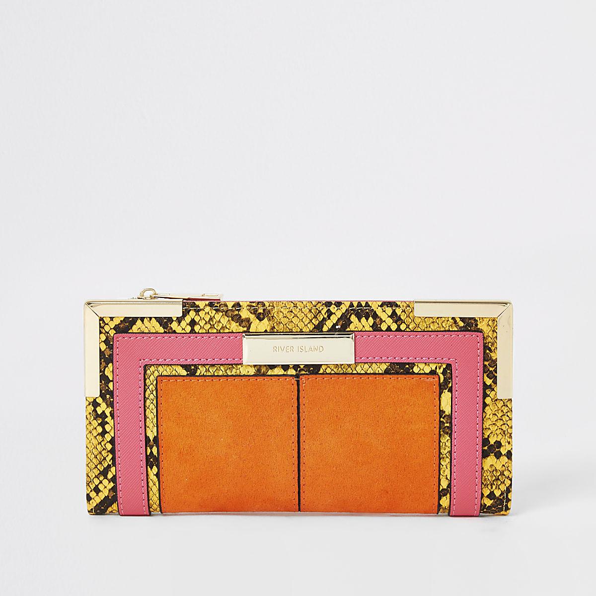 Orange snake print foldout metal corner purse