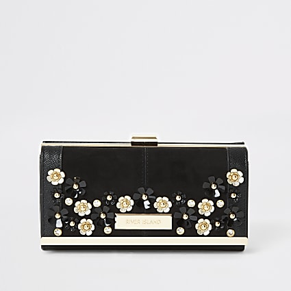 Black flower embellished cliptop purse