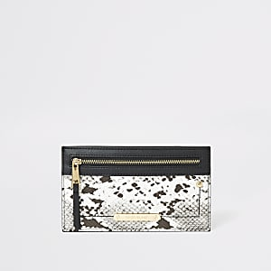 Grey snake printed card holder pouch purse