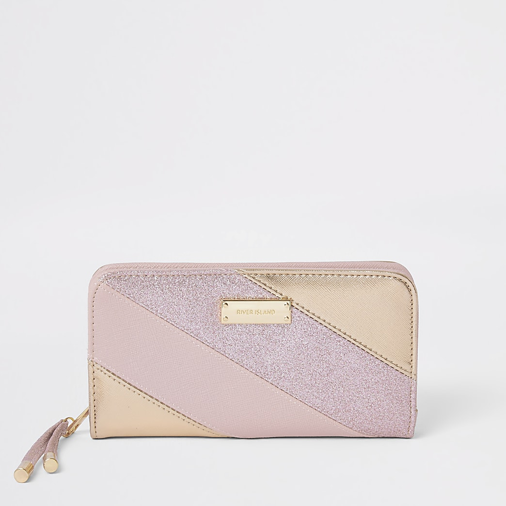 Pink glitter stripe zip around purse