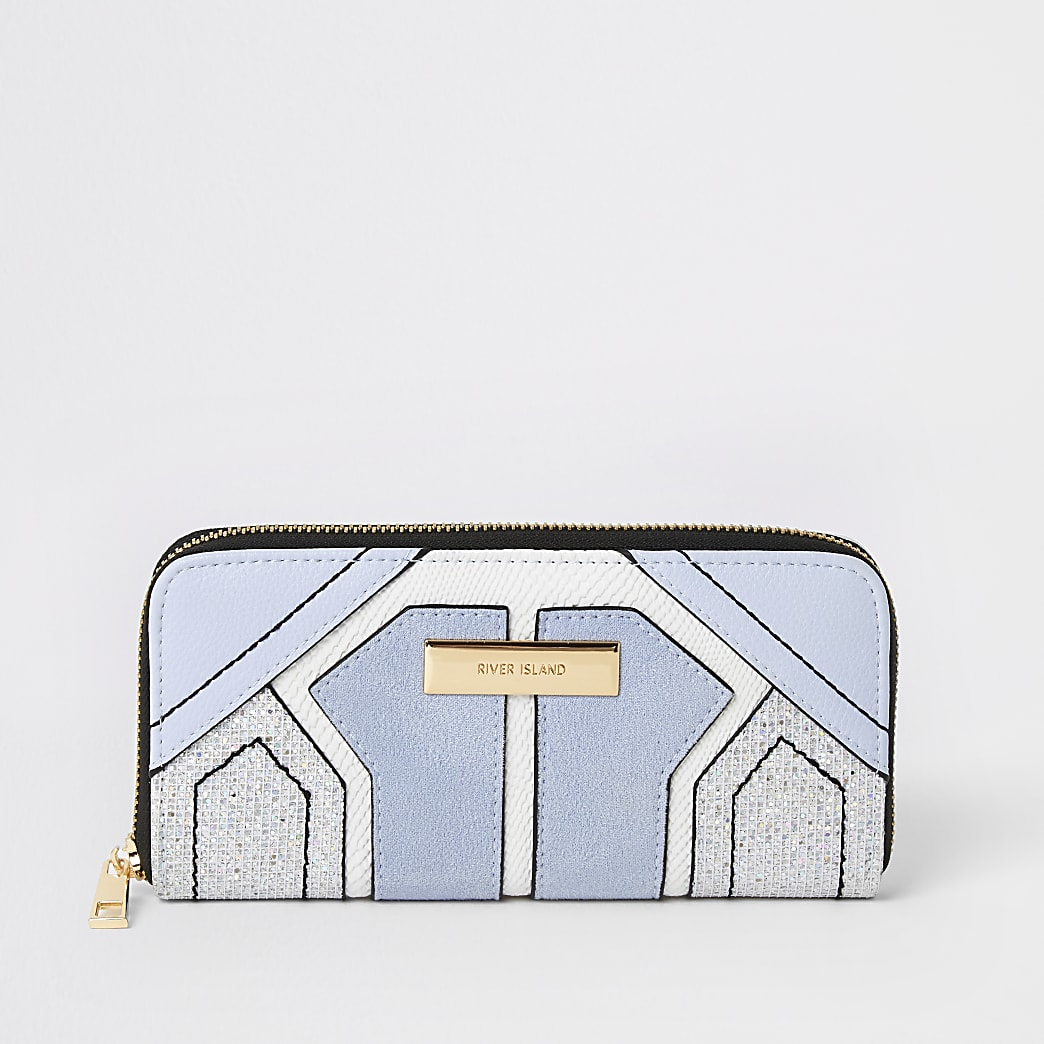 Blauwe portemonnee met rits rondom en panelen