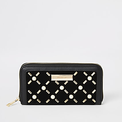 Black pearl studded zip around purse
