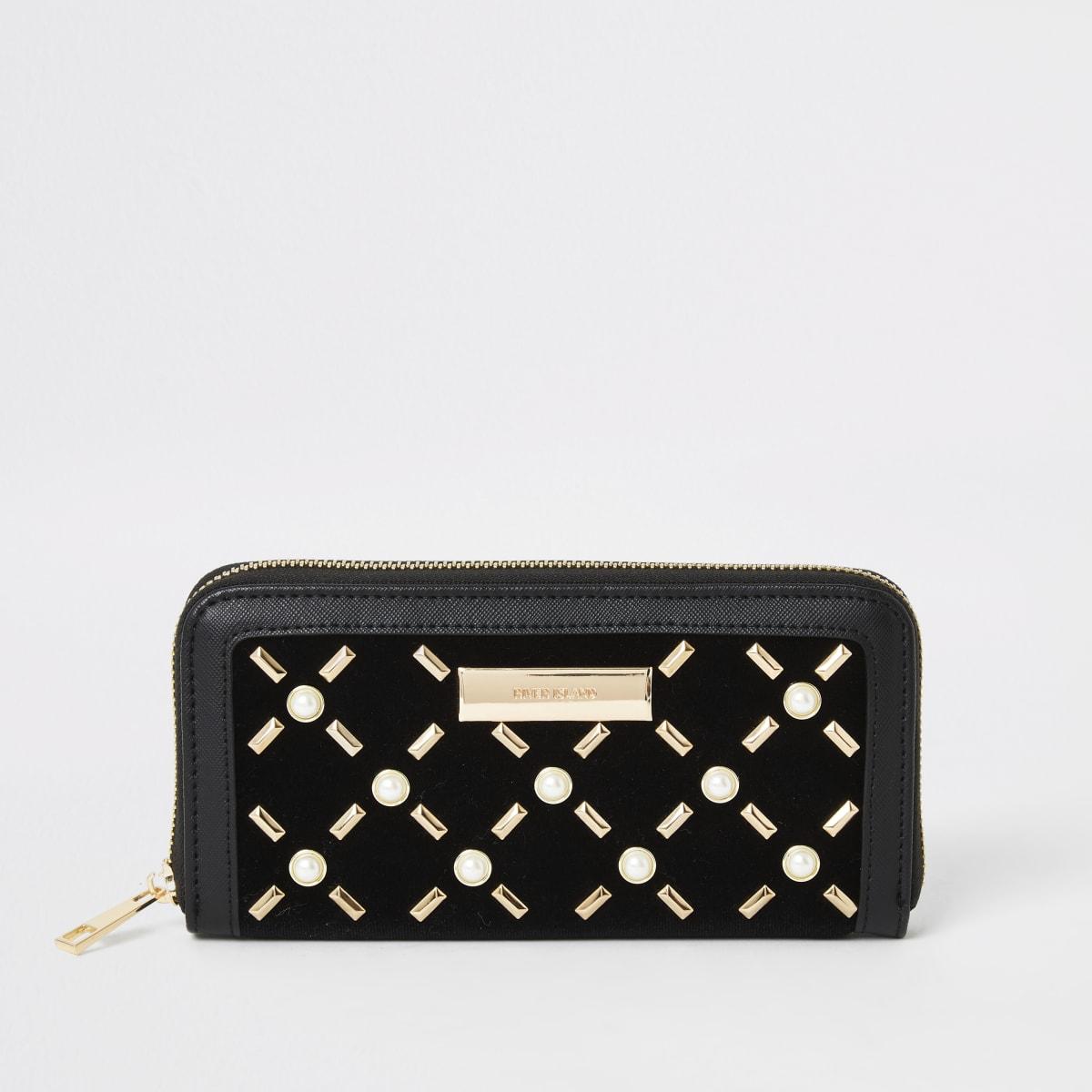 Black pearl studded zip around purse