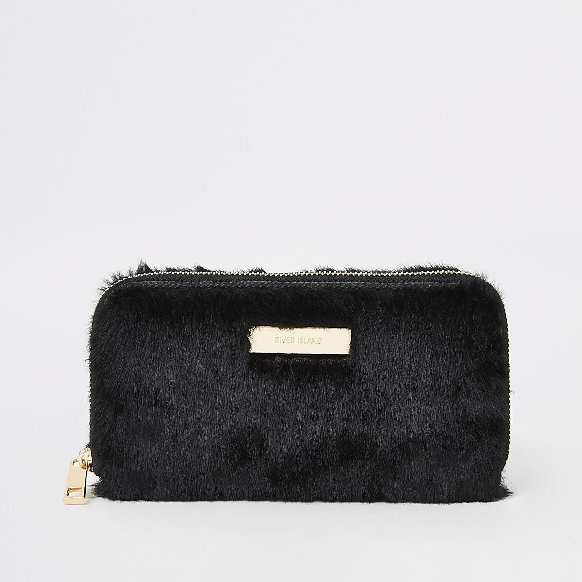 Zwarte portemonnee met imitatiebont en rits rondom
