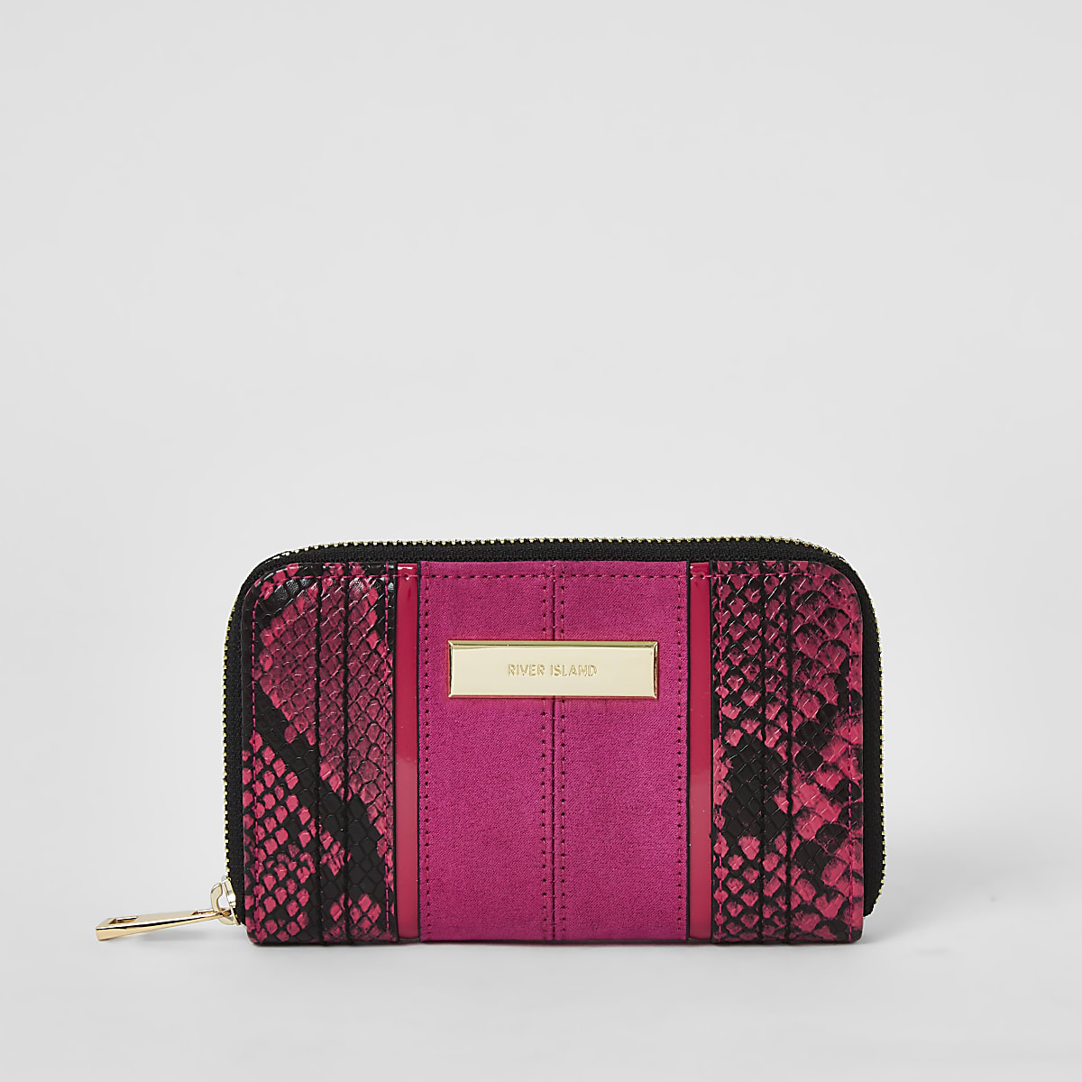 Pink snake print zip around purse