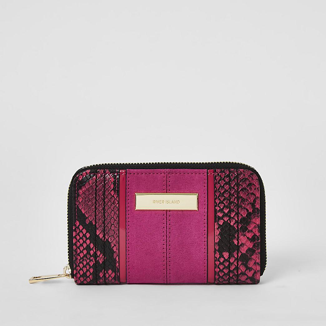 Pink snake print zip around purse