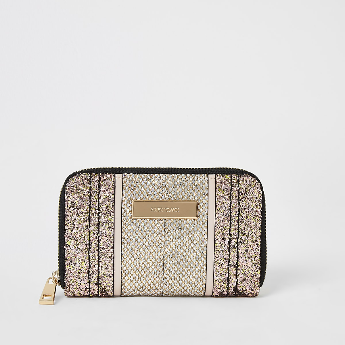 Gold glitter zip around purse