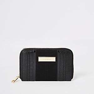Petit portefeuille noir zippé effet croco