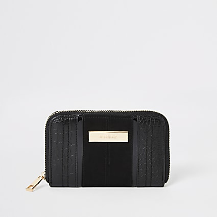 Black croc embossed zip around small purse