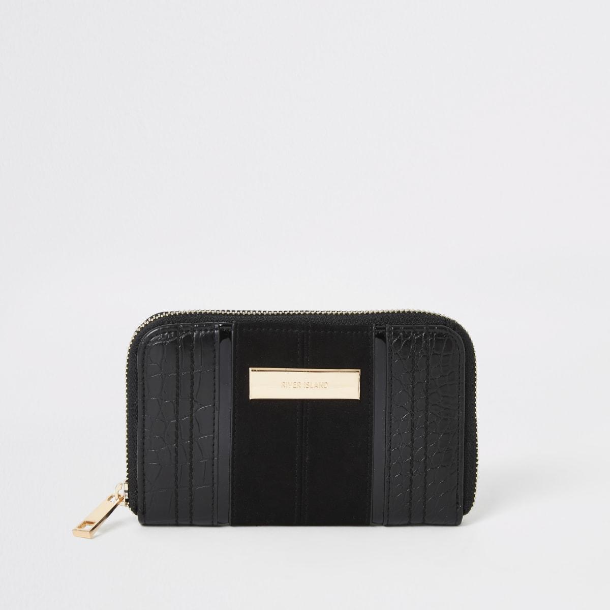 Zwarte kleine portemonnee met rits rondom en krokodillenprint in reliëf