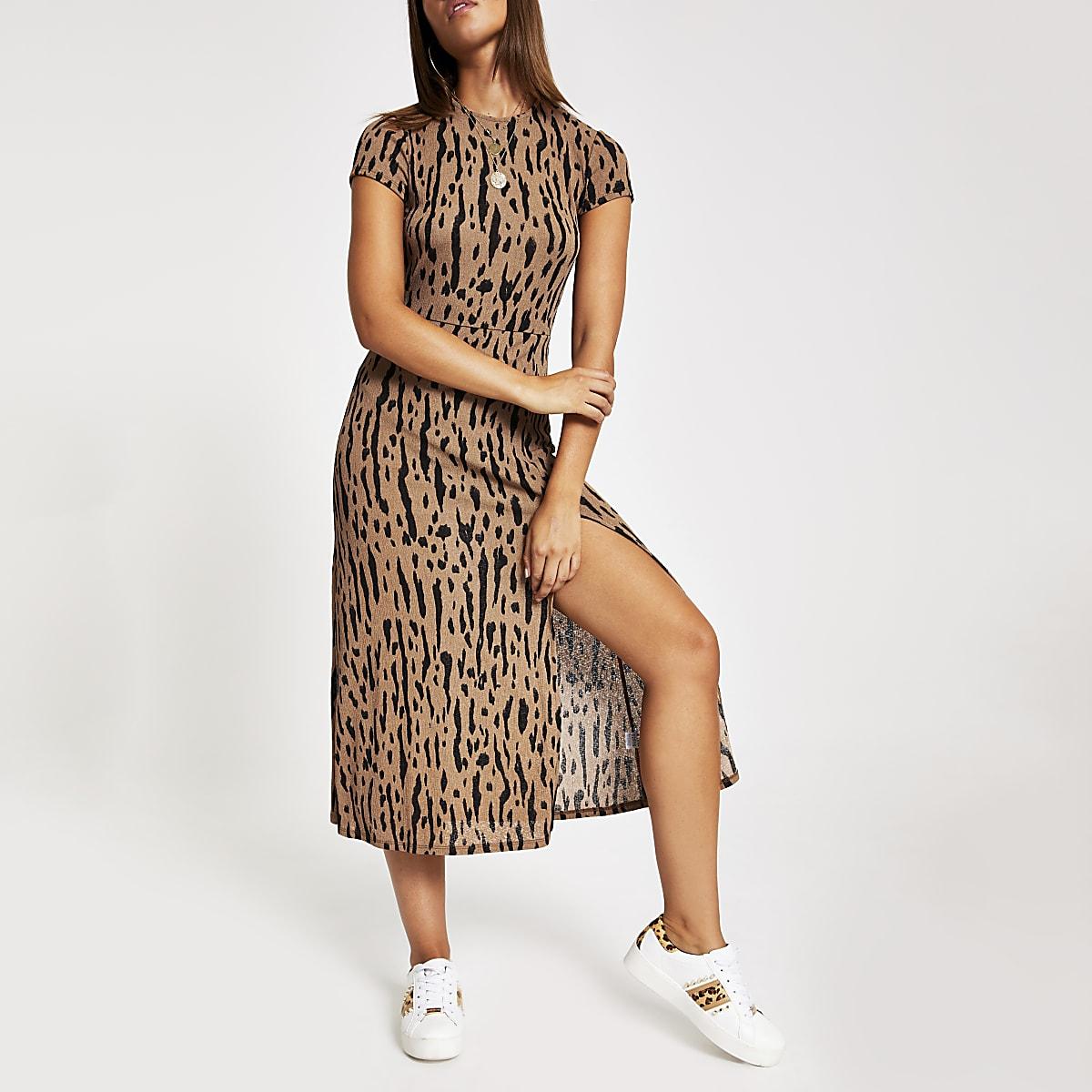 Beige printed A line short sleeve midi dress
