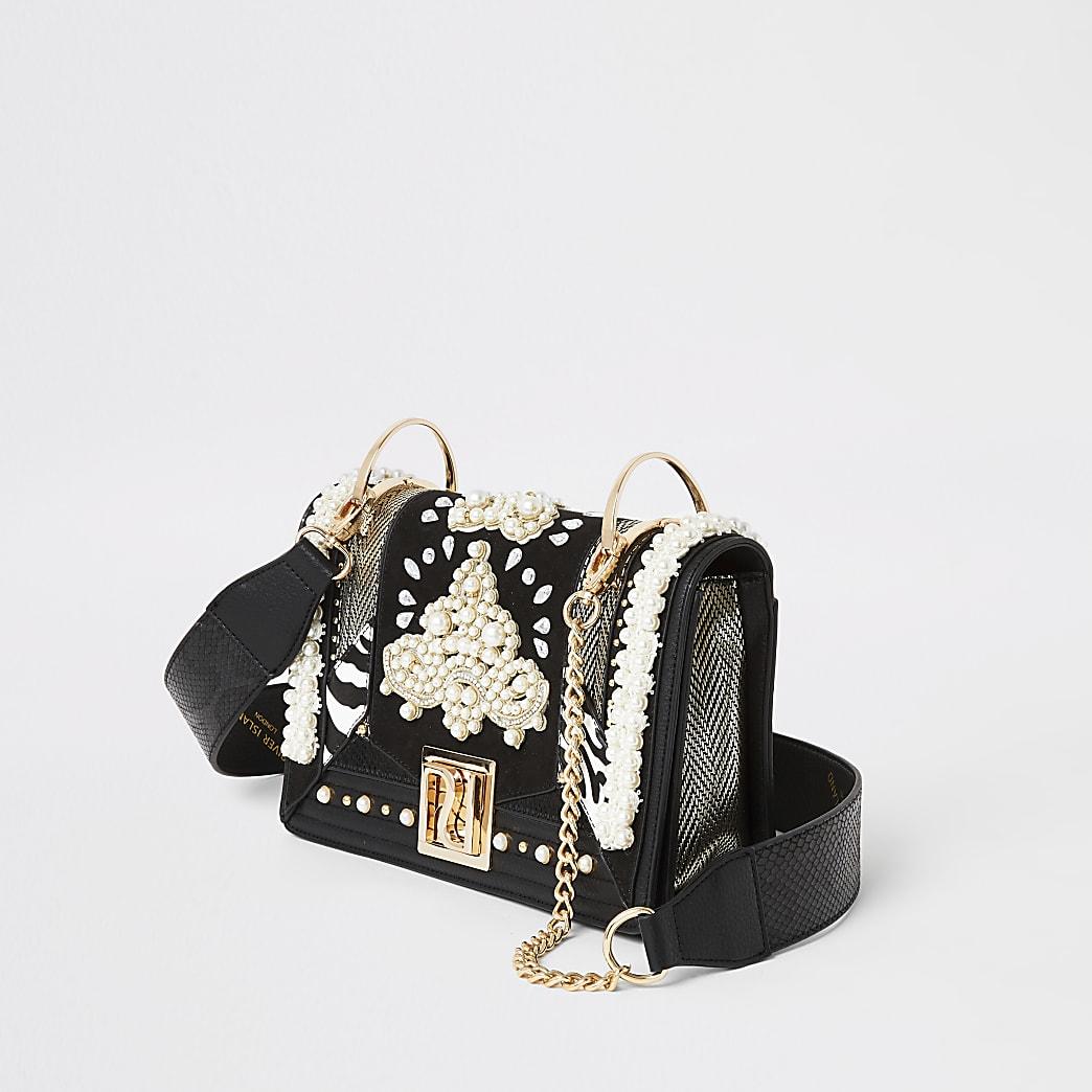 Black embellished cross body bag