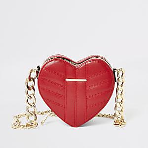 Rode gevoerde hartvormige crossbodytas