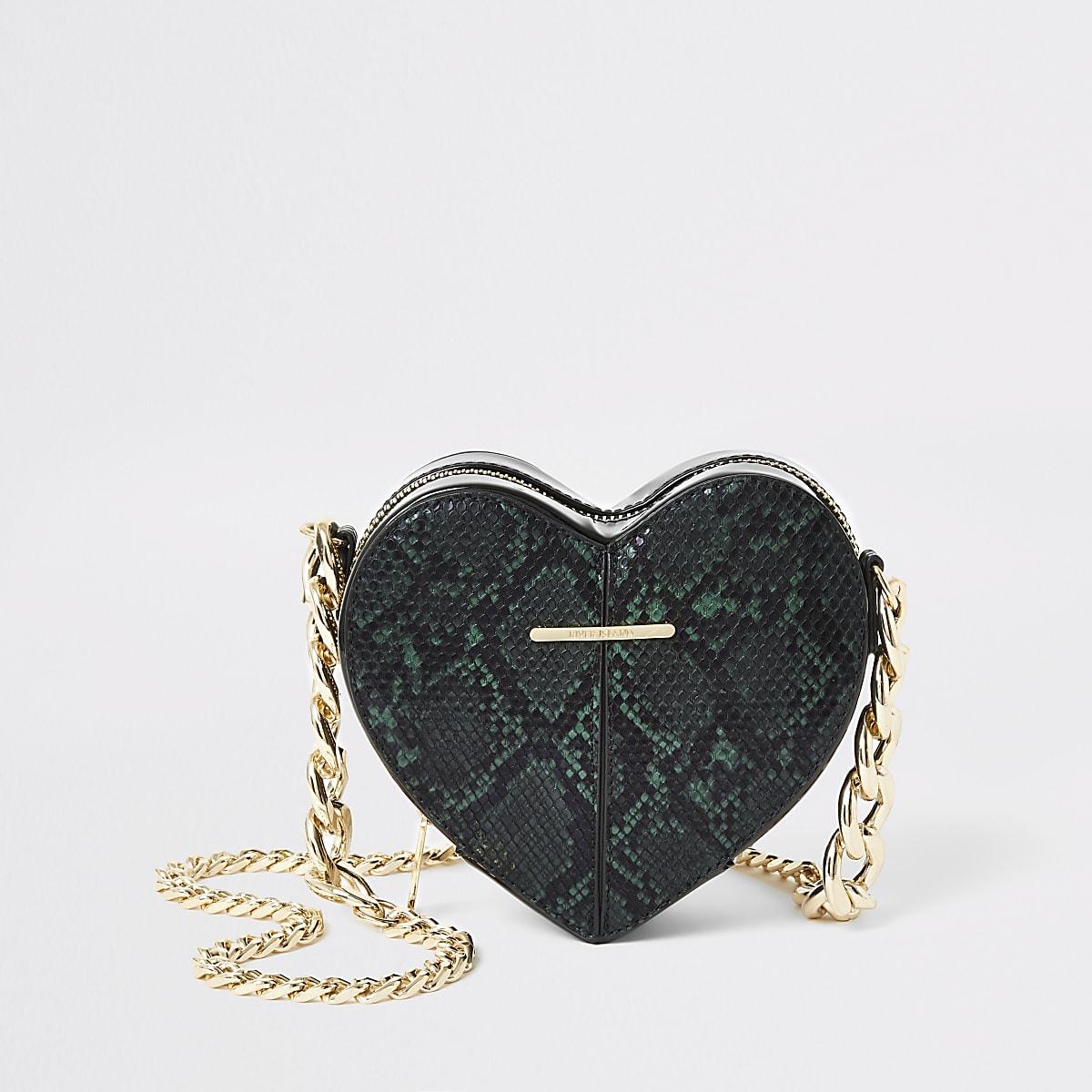 Green snake print heart shaped cross body bag