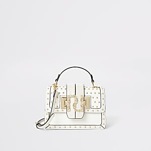 Crème gestikte RI satchel handtas met studs