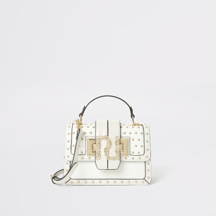 Cream studded RI quilted satchel bag
