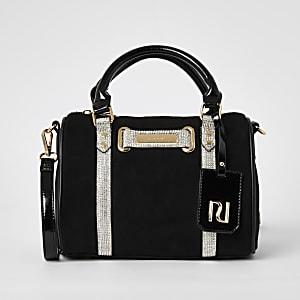 Schwarze Bowler-Tasche mit Strassverzierung