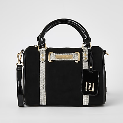 Black diamante embellished bowler bag