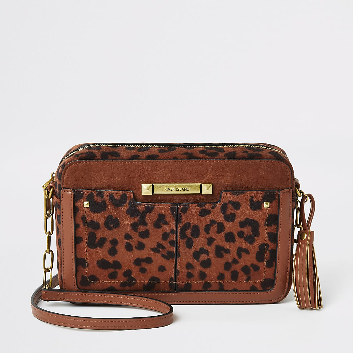 Rust velvet leopard printed cross body bag