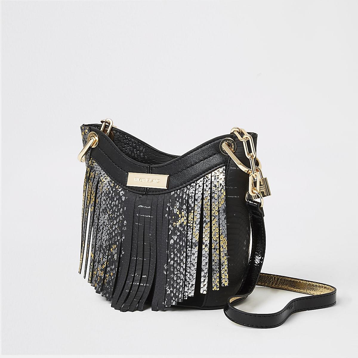 Black snake print tassel cross body bag