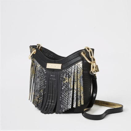 Black snake print tassel cross body bag
