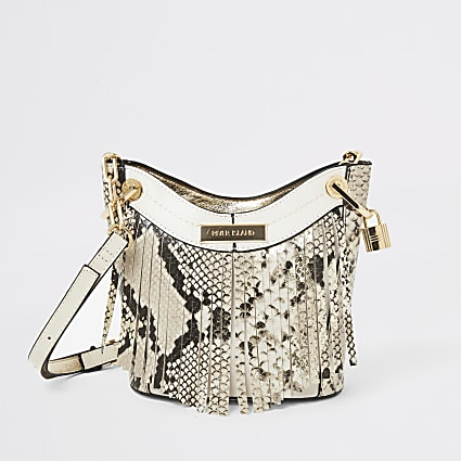 Beige snake fringe cross body bucket bag