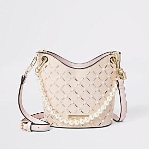 Pink pearl studded cross body bucket bag