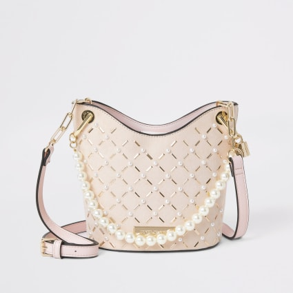 Pink pearl studded cross body bucket bag