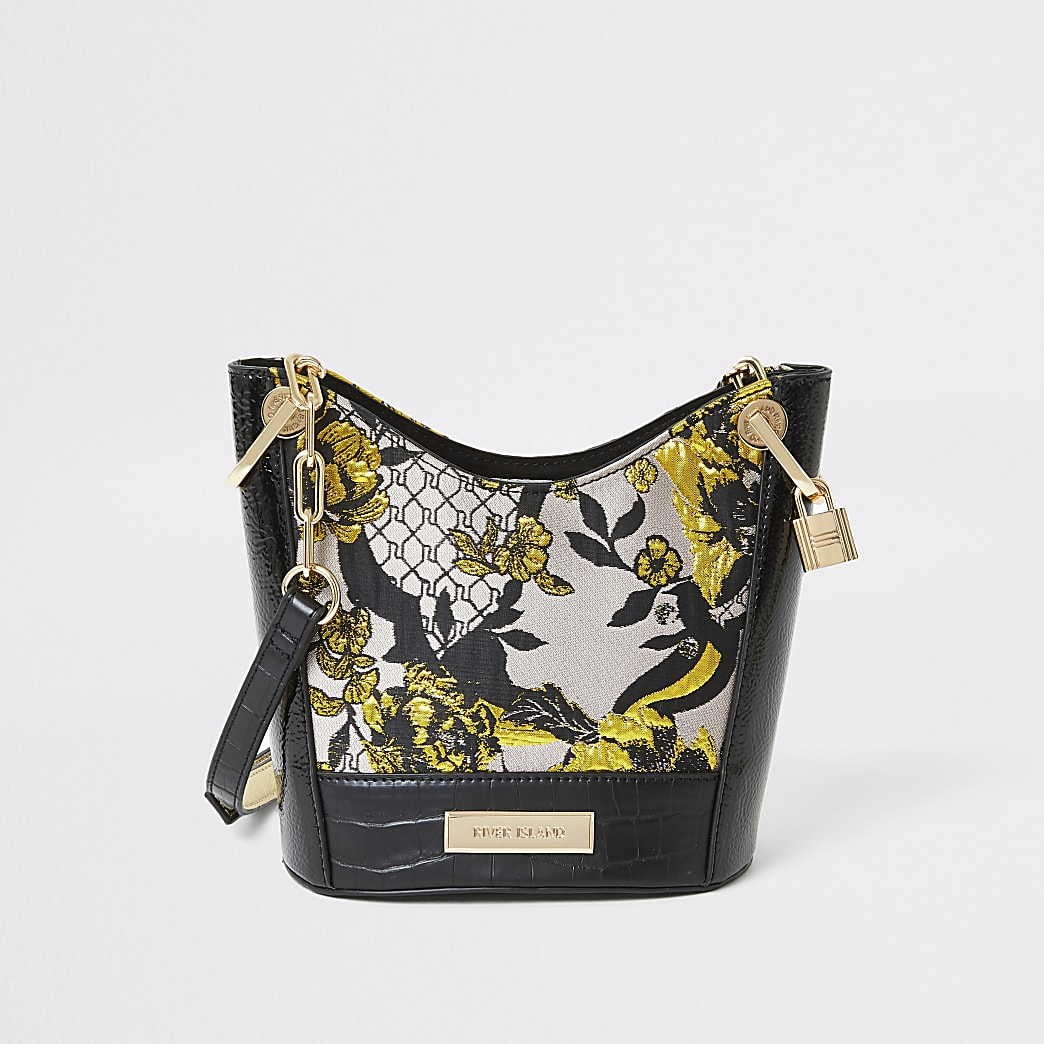 Graue Umhängetasche mit floralem Jacquard-Muster
