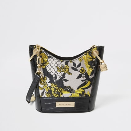 Grey floral jacquard cross body bucket bag