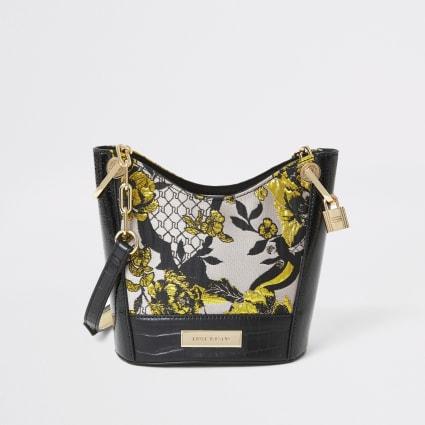 Grey floral jacquard cross body bucket bag