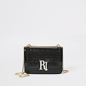 Zwarte lakleren schoudertas met reliëf en RI-letters