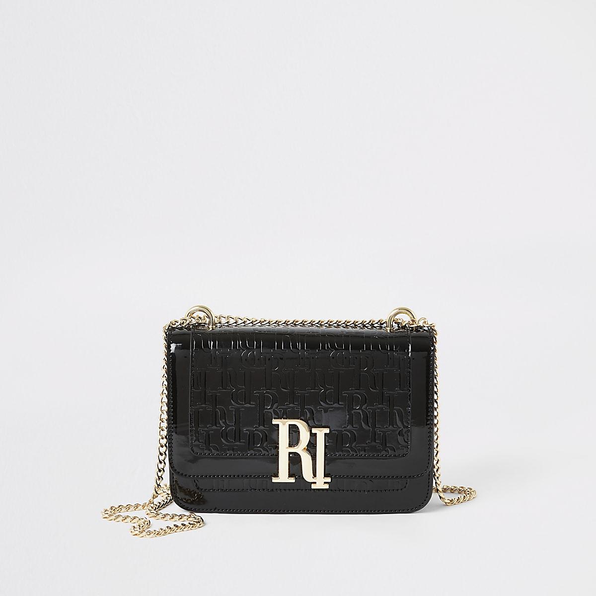 Black RI embossed patent underarm bag
