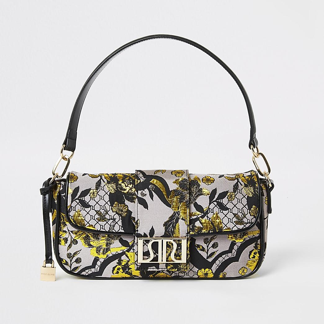 Graue Tasche mit floralem Jacquard-Muster
