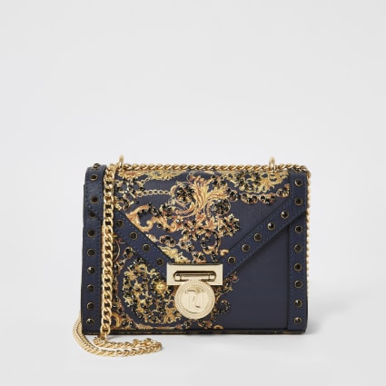 Navy print embellished mini cross body bag