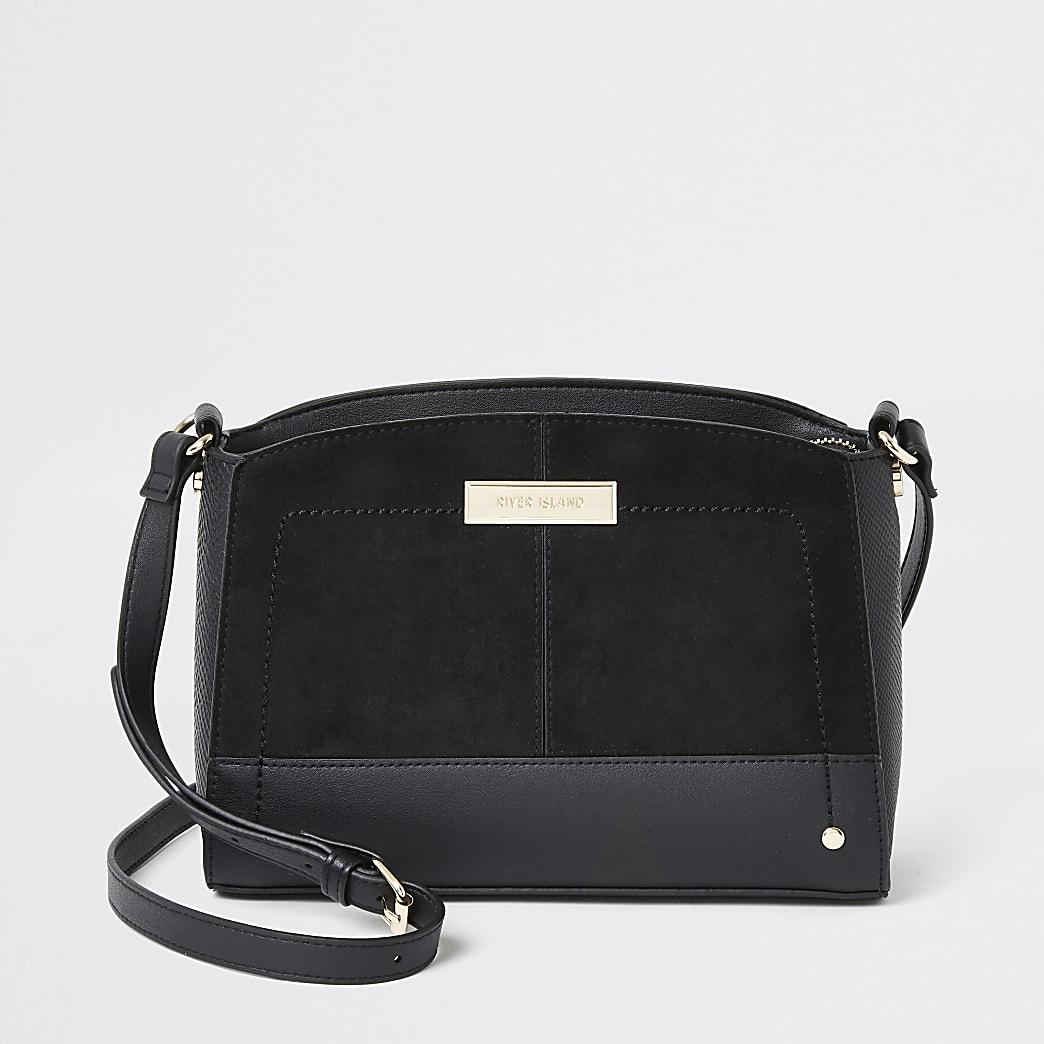 Black faux suede cross body bag