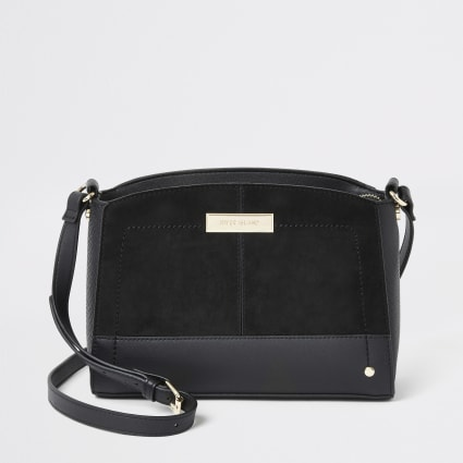Black faux suede cross body bag