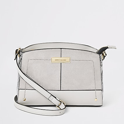 Dark grey snake print cross body bag