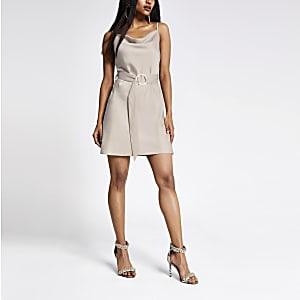 Petite beige cowl neck belted slip dress