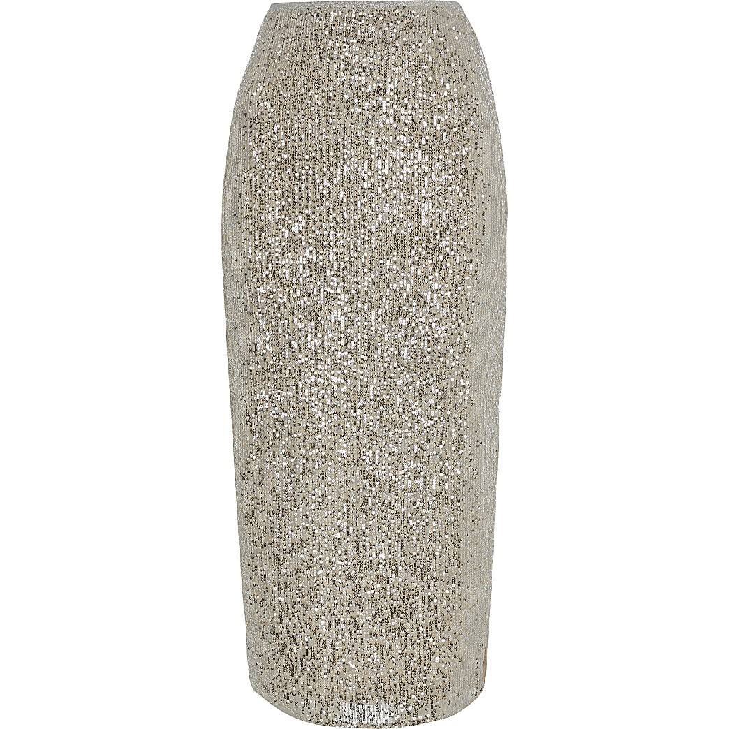 available sale usa online online store Silver sequin midi skirt | River Island