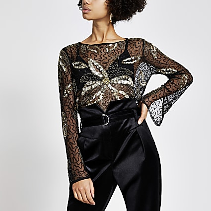 Black sheer sequin embellished top
