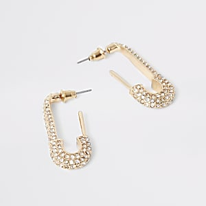 Gold colour dimante paved drop earrings