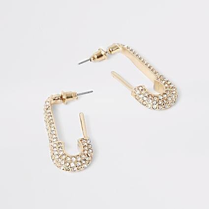 Gold colour dimante paved drop earrings