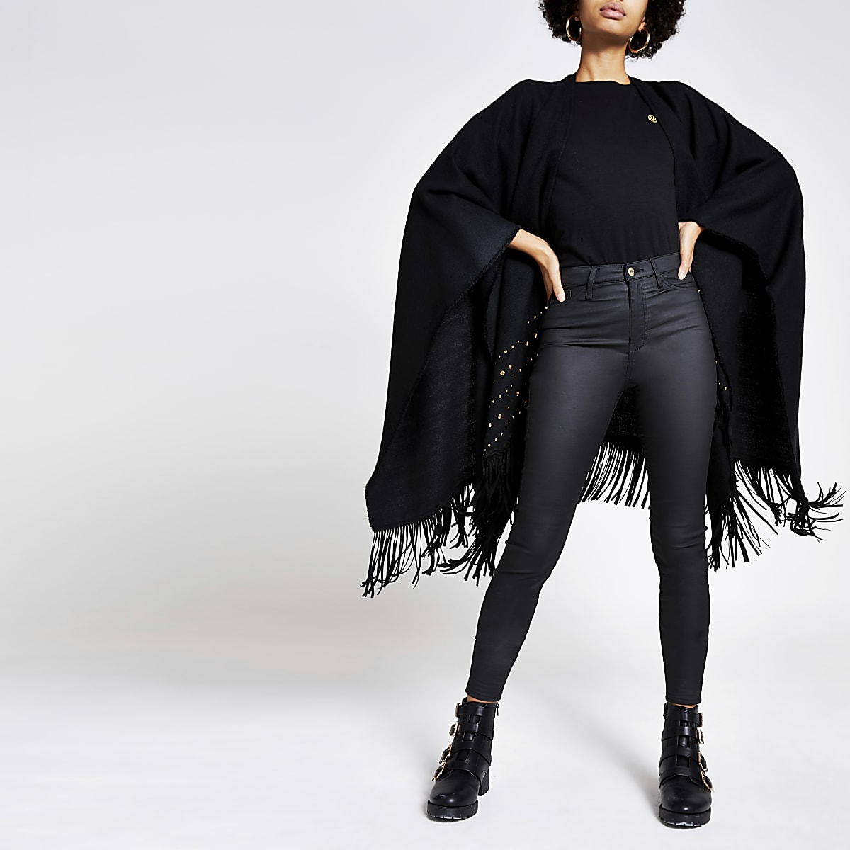 Black studded tassel trim cape