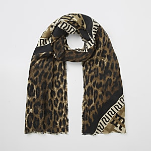 Brauner Schal mit RI-Monogramm und Leoparden-Print