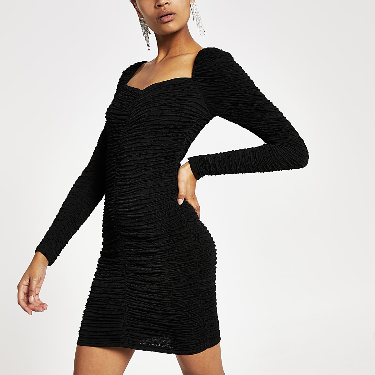 Black ruched long sleeve bodycon dress