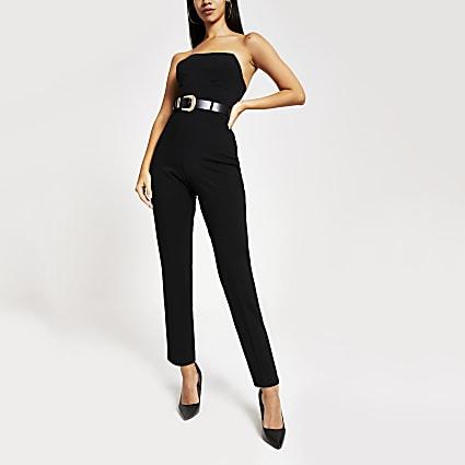Black western belted bandeau jumpsuit