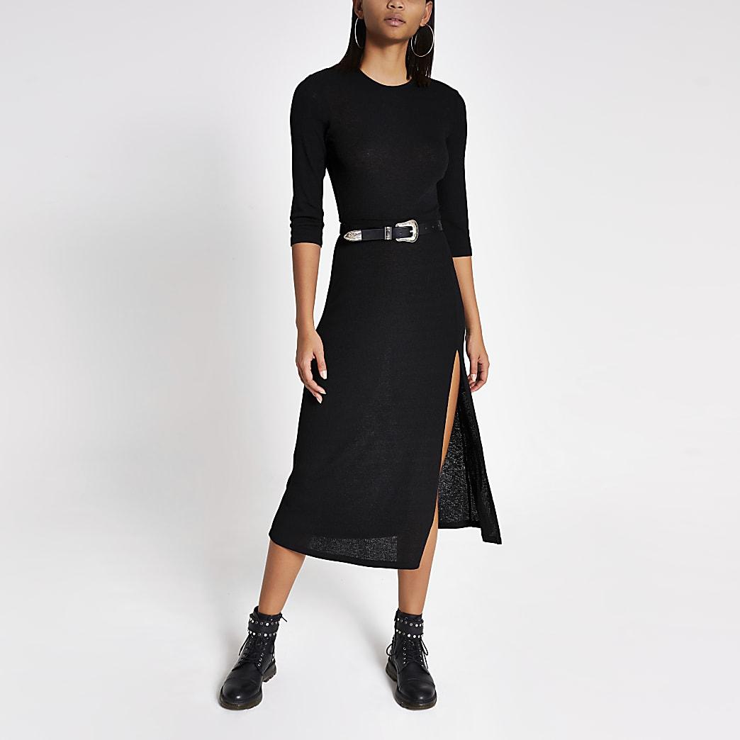 Black long sleeve A line midi dress
