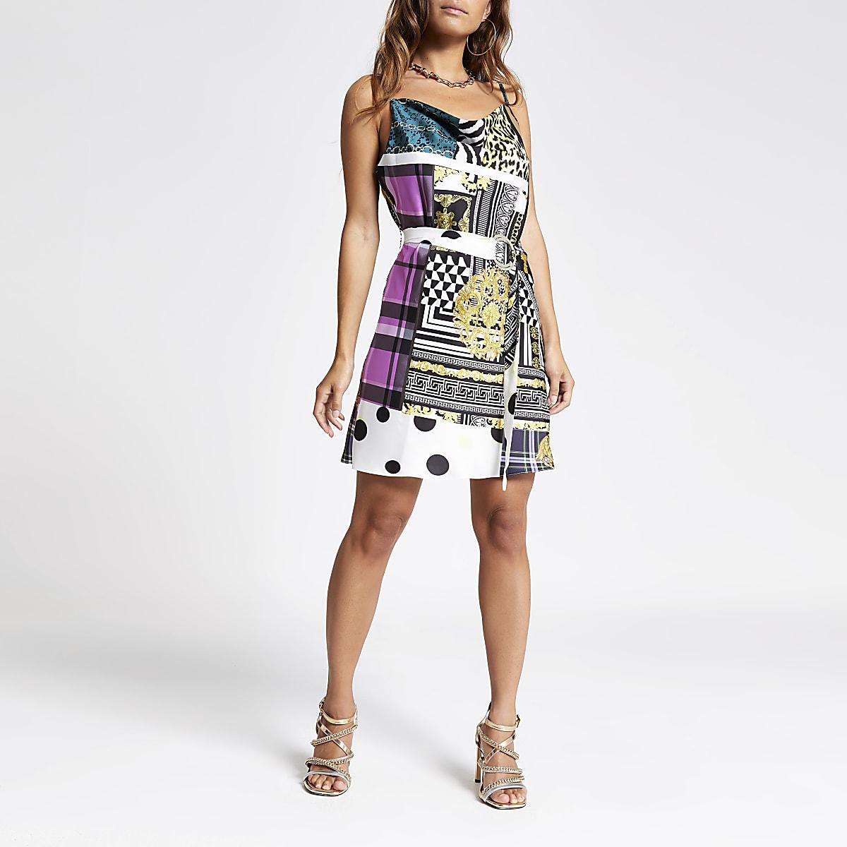 Petite purple print cami slip dress